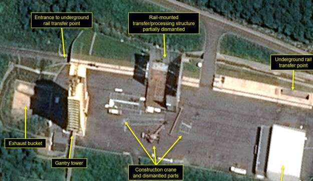 Satellite image showing apparent dismantling of facilities at the Sohae launching station in North Korea.