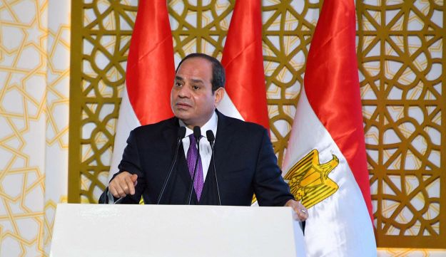 Egyptian President Abdel Fattah Al Sisi gives his speech at Egypt's new administrative capital, north of Cairo, Egypt, July 24, 2018.