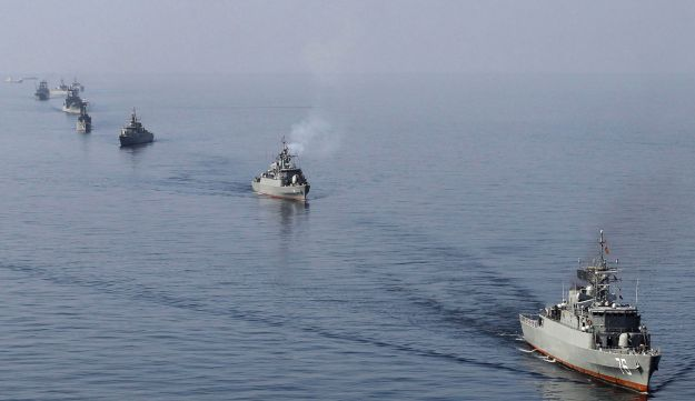 FILE: Iranian ships in an exercise in the Persian Gulf in 2012.