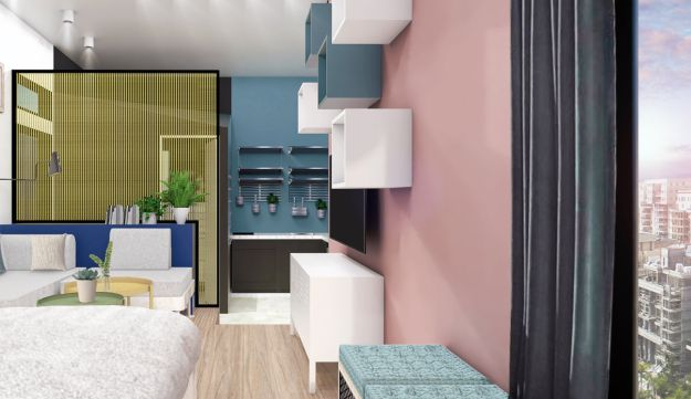 A simulation of the interior space in a planned housing unit in Jerusalem.