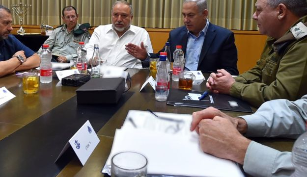 Prime Minister Benjamin Netanyahu, IDF Chief of Staff Gadi Eisenkot and Defense Minister Avigdor Lieberman at an emergency discussion on the Gaza-border escalation.