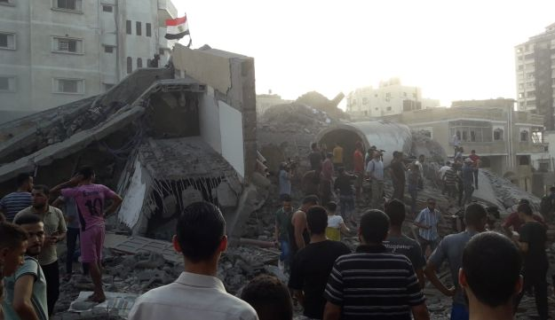 The building the IDF destroyed in an airstrike on Gaza, August 9, 2018.