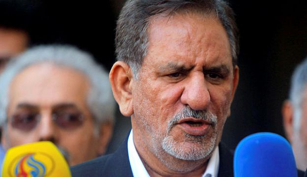 Iranian Vice President Eshaq Jahangiri speaks during a news conference in Najaf, south of Baghdad, February 18, 2015.