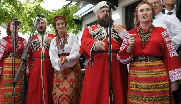 A Don Cossack Choir performs during the wedding of the Austrian Foreign Minister on August 18, 2018 in Gamlitz, Styria, Austria.