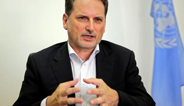 Pierre Kraehenbuehl speaks during an interview with The Associated Press in Jerusalem, August 23, 2018.