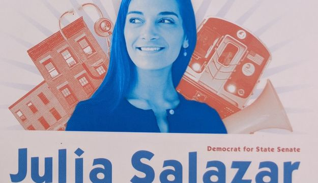 An election poster for New York State Senate candidate Julia Salazar.