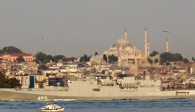 The Russian Navy's frigate Admiral Essen sails in the Bosphorus, on its way to the Mediterranean Sea, in Istanbul, Turkey, August 25, 2018.