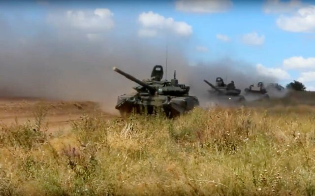 Russian tanks rolling during exercises in the Chita region, Eastern Siberia on September 11, 2018.