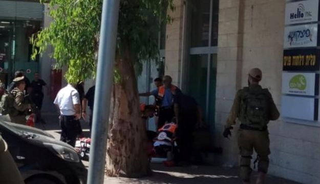 The scene of a stabbing at the entrance to a mall near the Gush Etzion Junction, West Bank, September 16, 2018.