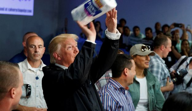 A president who likes gratitude: President Donald Trump tosses paper towels into a crowd at Calvary Chapel in Guaynabo, Puerto Rico after Hurricane Maria. Oct. 3, 2017