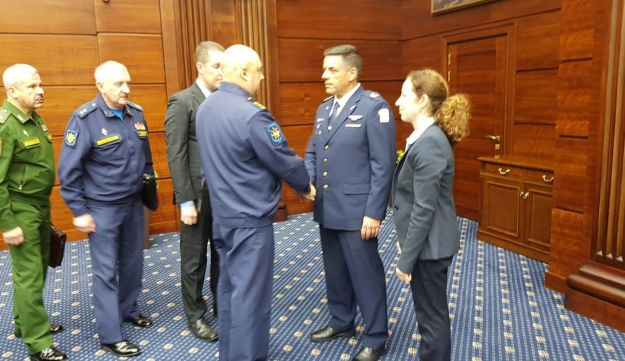 Israel Air Force commander Amikam Norkin (second from the right) meets with senior Russian military officials in Moscow, September 20, 2018.