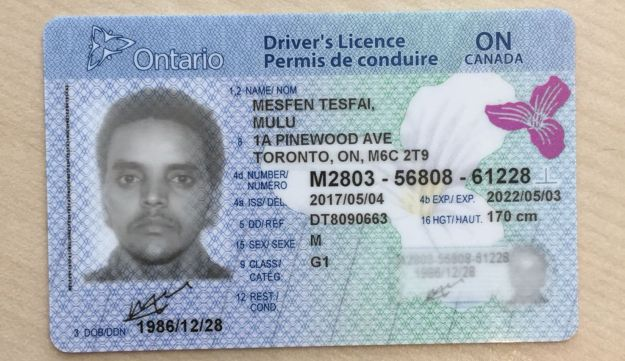 Mulue Mespin's Canadian permanent-residency card, which he received the day he arrived in Canada from Israel.