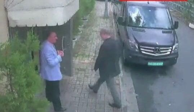 Photo obtained by the Washington Post that shows columnist Jamal Khashoggi walking into the Saudi Consulate in Istanbul. It is believed to be the last image of the journalist, Oct. 2, 2018.