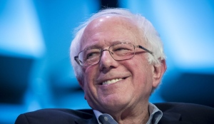 Senator Bernie Sanders smiles during a keynote session at the South By Southwest conference in Austin, Texas, on March 9, 2018