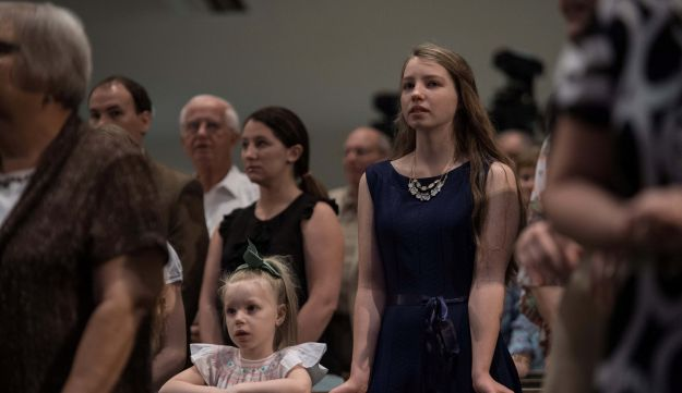 Christian evangelicals attend Sunday service at First Baptist North church in Spartanburg, South Carolina, on September 18, 2016