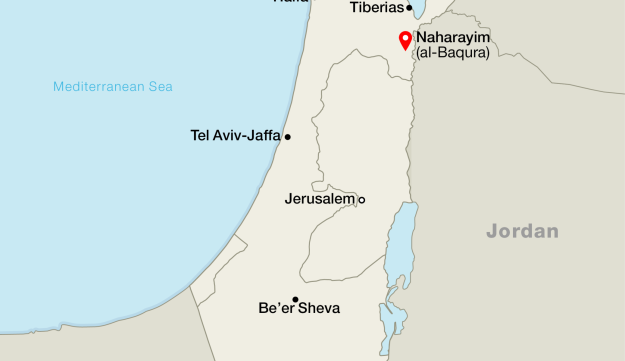 Location of the two territories Israel leased from Jordan after 1994 peace treaty