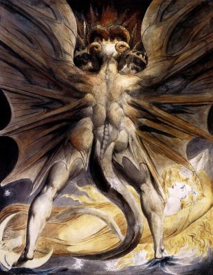 William Blake's interpretation of the devil as the Great Red Dragon, with the Woman Clothed in Sun. William Blake. >>