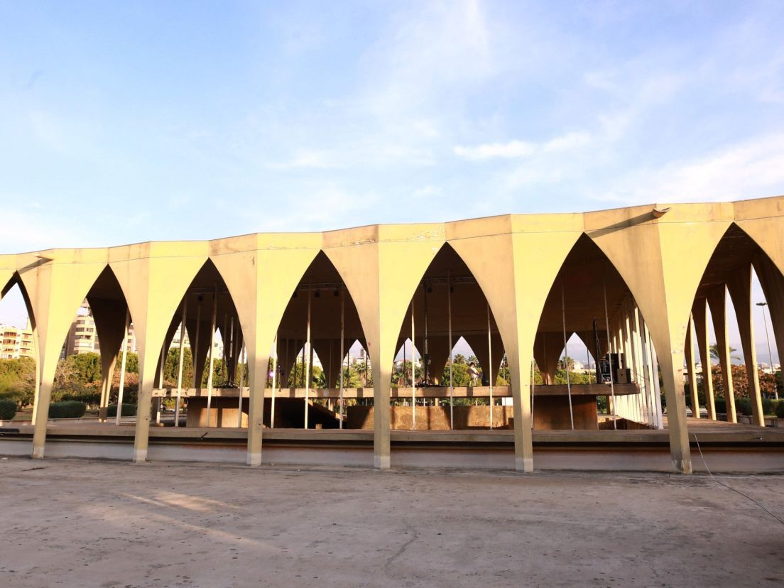 9b61cf1952a2ae A view of an arched structure in the grounds of the Tripoli International  Fair. AFP