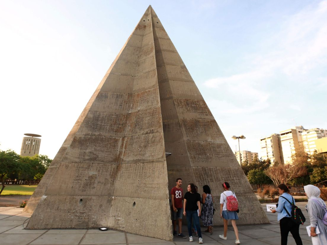 63c2f803ecf079 The stone pyramid during an exhibiton at the grounds of the Tripoli International  Fair. AFP