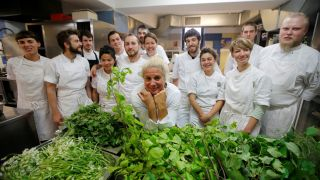 Ana Ros, a chef at restaurant Hisa Franko poses with her staff, Slovenia, May 12, 2017.