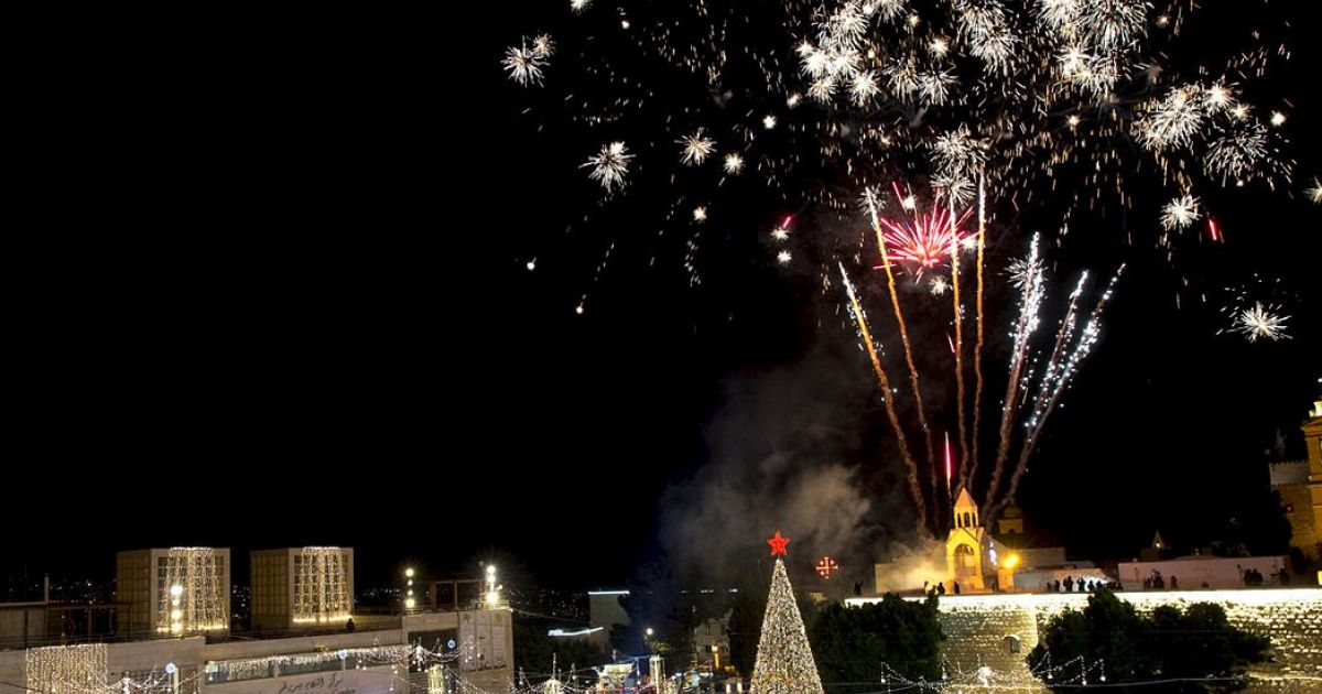 Thousands Attend Christmas Tree Lighting in Bethlehem - Thousands Attend Christmas Tree Lighting In Bethlehem - Palestinians