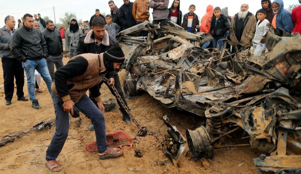 A vehicle that was destroyed in an Israeli airstrike on Gaza after the botched operation took place in November 2018.