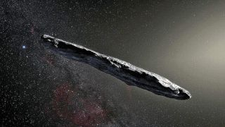 """An artist's rendering of Oumuamua. """"It waited in place, like a buoy in the ocean, until the 'ship' of the solar system ran into it."""""""