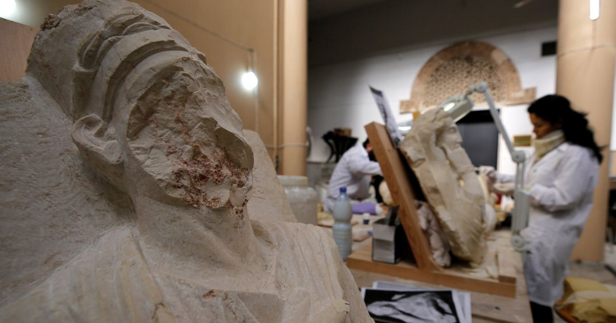 Damascus museum restores ancient Palmyra artifacts damaged by ISIS