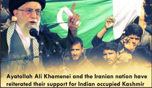 Popular graphic on social media showing Iranian Supreme Leader Khameini's explicit support for the Kashmir 'resistance' against Indian control