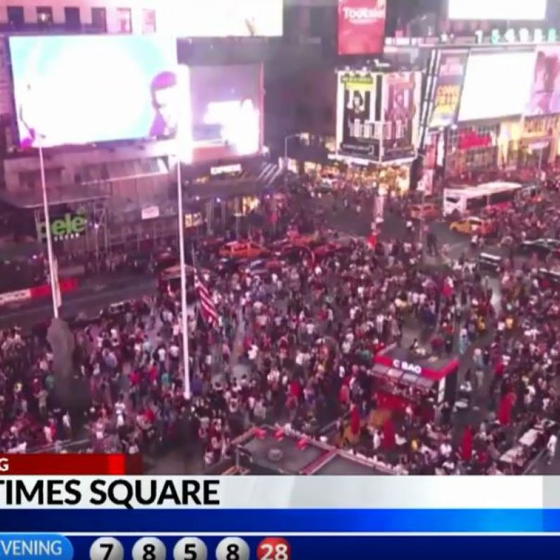 Panic in New York's Times Square as motorcycle backfire mistaken for