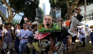 Israelis take part in a protest against climate change during an event in Tel Aviv, Israel September 27, 2019.