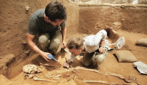 Excavating at the Philistine cemetery in Ashkelon, Israel, 2016.