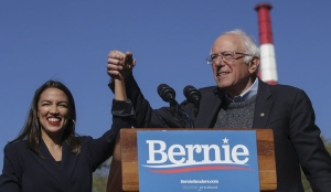 Rep. Alexandria Ocasio-Cortez (D-NY) endorses Democratic presidential candidate, Sen. Bernie Sanders (I-VT) at a campaign rally in Queensbridge Park on October 19, 2019 in the Queens borough of New York City