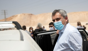 Higher Education and Water Resources Minister Zeev Elkin, attends a cornerstone laying ceremony, June 22, 2020.