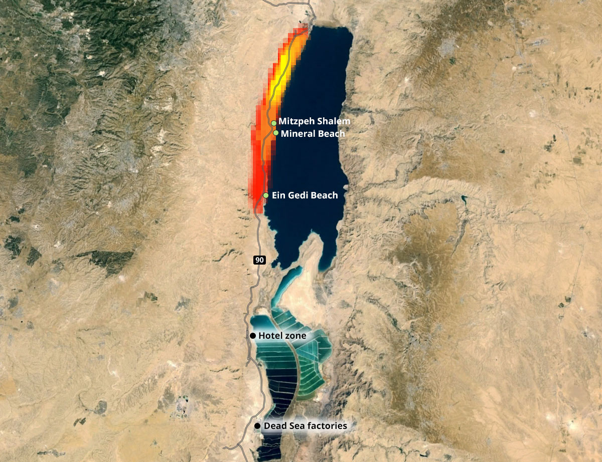 The Dead Sea and its sinkholes – natural disasters and flood seen Dead Sea Hotels Map on